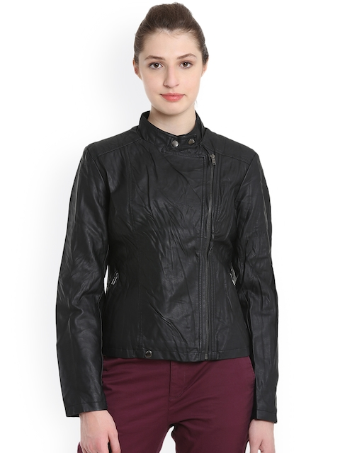 United Colors of Benetton Women Black Solid Biker Jacket