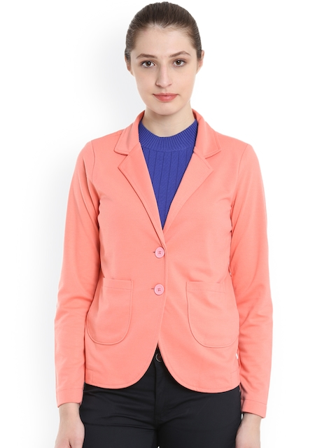 United Colors of Benetton Women Pink Solid Tailored Jacket