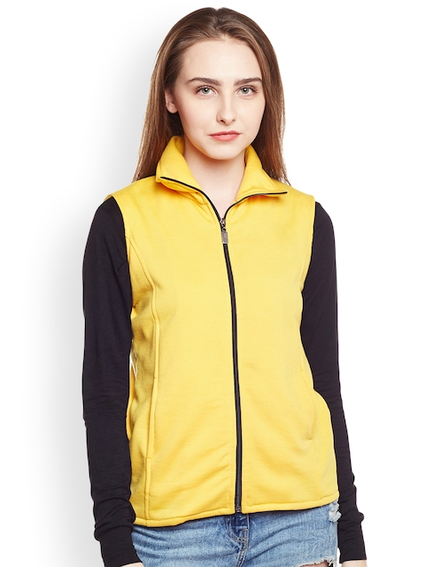 Belle Fille Women Yellow Solid Open Front Jacket  available at myntra for Rs.979