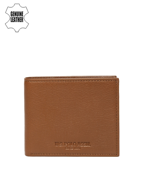 U.S. Polo Assn. Men Brown Genuine Leather Two Fold Wallet