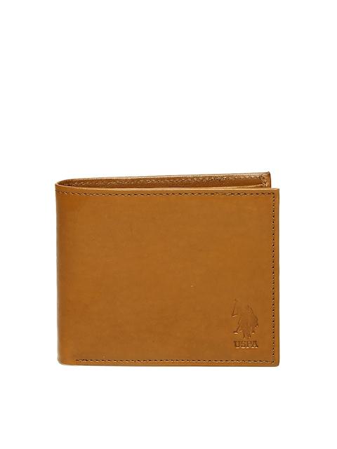 U.S. Polo Assn. Men Tan Solid Two Fold Wallet