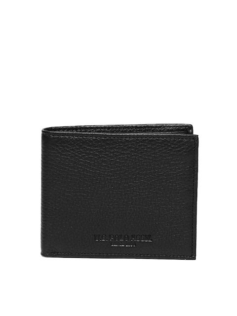 U.S. Polo Assn. Men Black Solid Two Fold Wallet