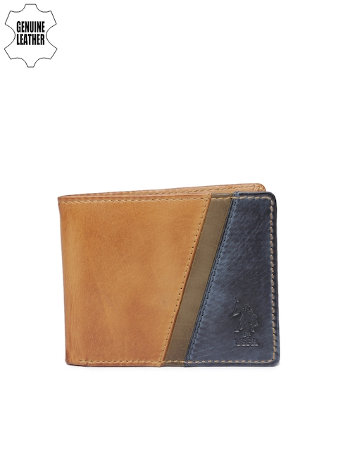 U.S. Polo Assn. Men Tan & Blue Colourblocked Two Fold Wallet