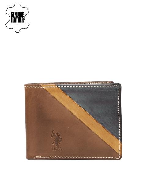 U.S. Polo Assn. Men Brown & Navy Blue Colourblocked Two Fold Wallet