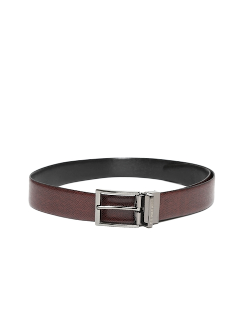 U.S. Polo Assn. Men Maroon & Black Leather Reversible Textured Belt
