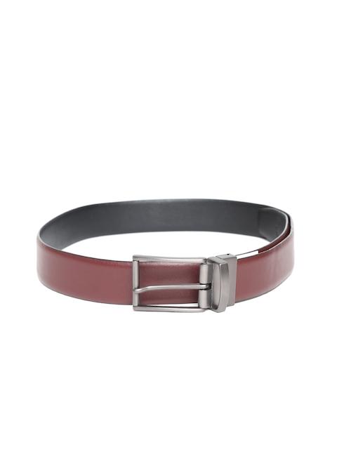 U.S. Polo Assn. Men Black & Burgundy Leather Reversible Solid Belt