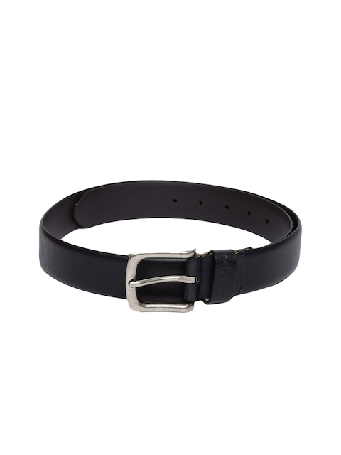 U.S. Polo Assn. Men Navy Blue Solid Leather Belt