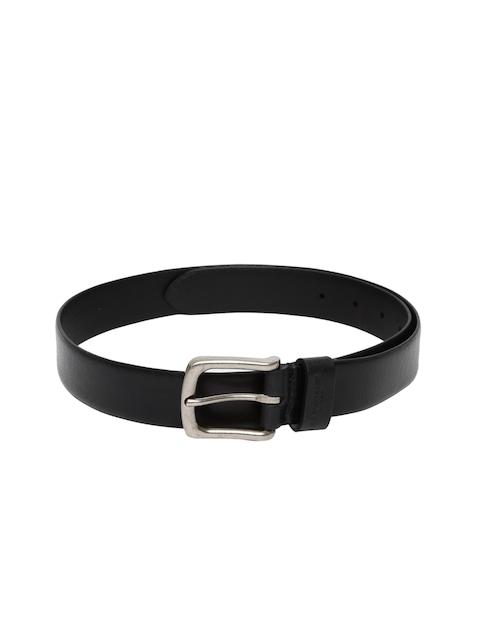 U.S. Polo Assn. Men Black Solid Leather Belt