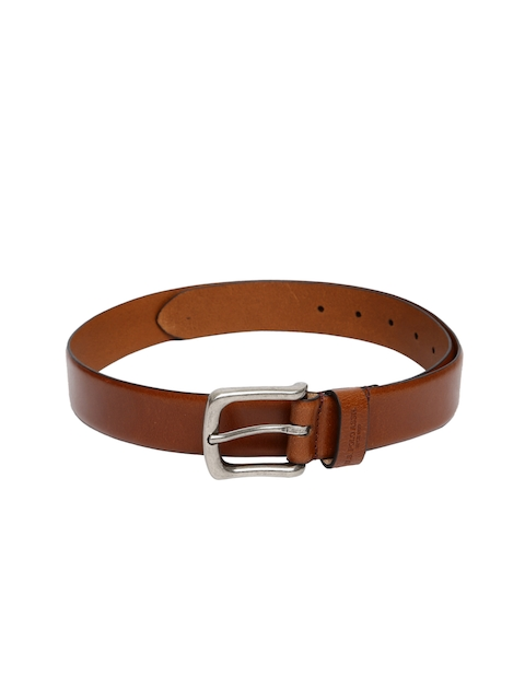 U.S. Polo Assn. Men Tan Brown Solid Leather Belt