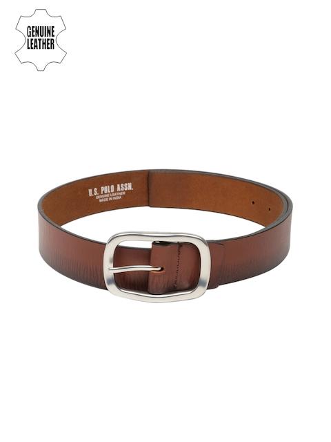 U.S. Polo Assn. Men Brown Genuine Leather Belt