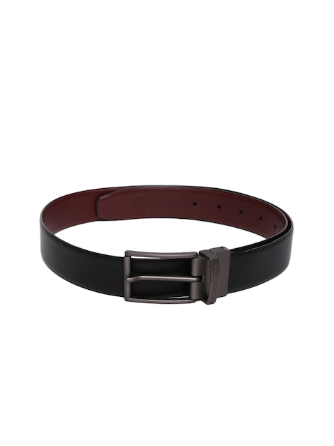 U.S. Polo Assn. Men Brown & Navy Blue Solid Leather Reversible Belt