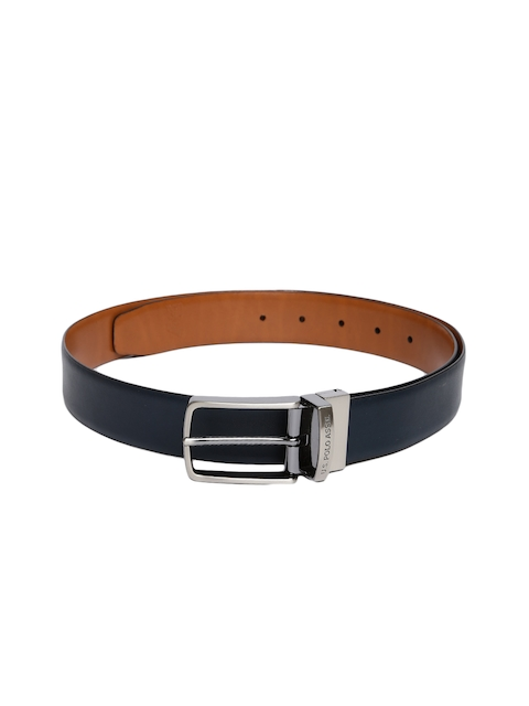U.S. Polo Assn. Men Navy Blue & Tan Brown Solid Leather Reversible Belt