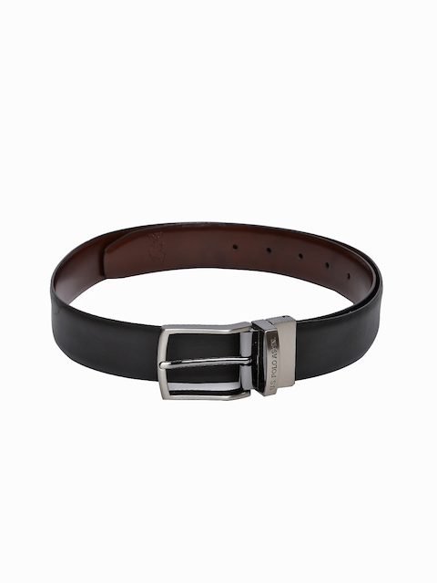 U.S. Polo Assn. Men Brown & Black Solid Leather Reversible Belt