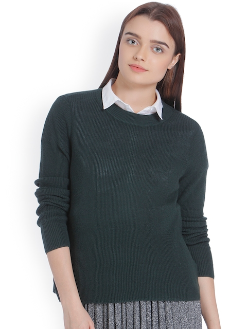 Vero Moda Women Green Self Design Pullover