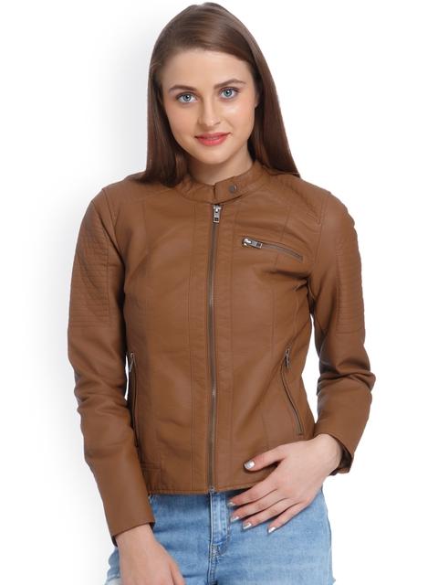 ONLY Women Brown Solid Biker Jacket