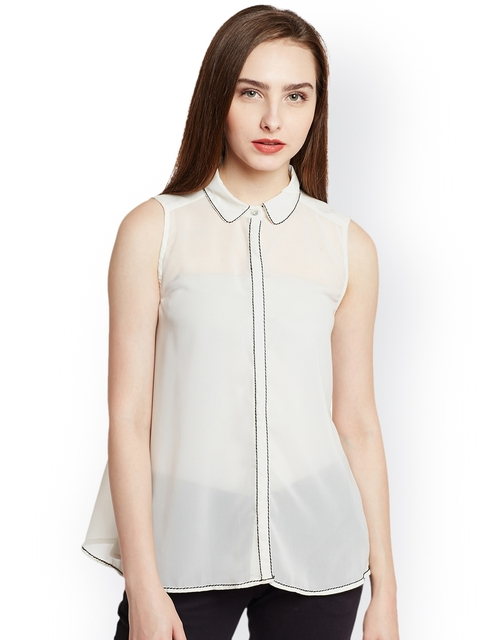 Nun Women Off-White Solid Shirt Style Top