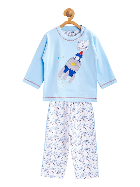 Pepito Boys Blue Printed Night Suit AS-11030