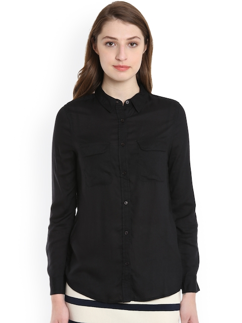 United Colors of Benetton Women Black Regular Fit Solid Casual Shirt