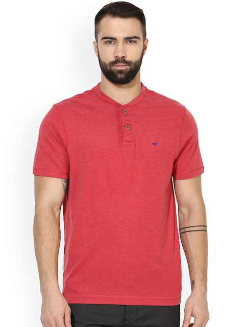 Red Tape Men Red Solid Henley Neck T-shirt