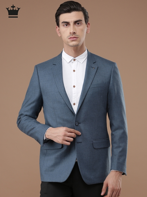 Louis Philippe Blue Ultra Fit Single-Breasted Casual Blazer