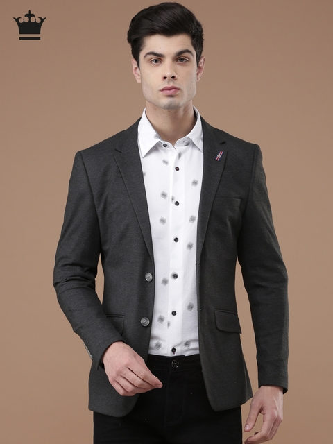 Louis Philippe Sport Charcoal Grey Self-Design Slim John Fit Single-Breasted Formal Blazer