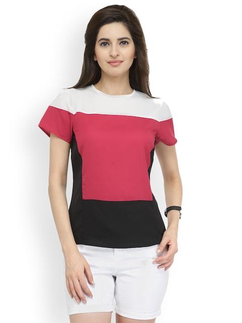 plusS Women Red Colourblocked Top