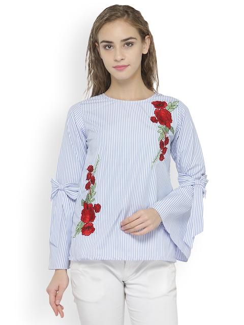 plusS Women Blue Striped Top