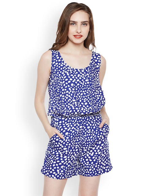 Nun Women Blue & White Printed Playsuit  available at myntra for Rs.448