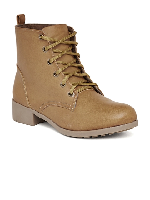 Marc Loire Women Tan Solid Synthetic High-Top Flat Boots