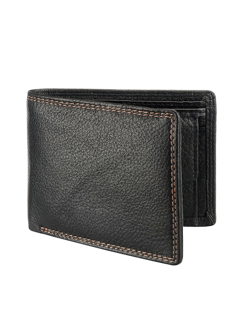 Teakwood Leathers Men Black Solid Two Fold Wallet