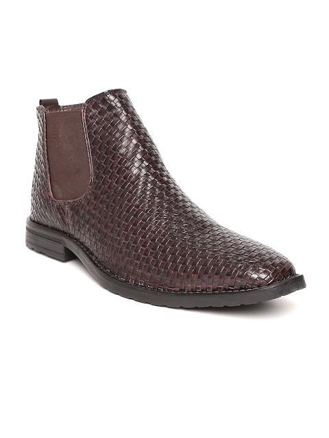 Bata Men Brown Textured Mid-Top Flat Boots