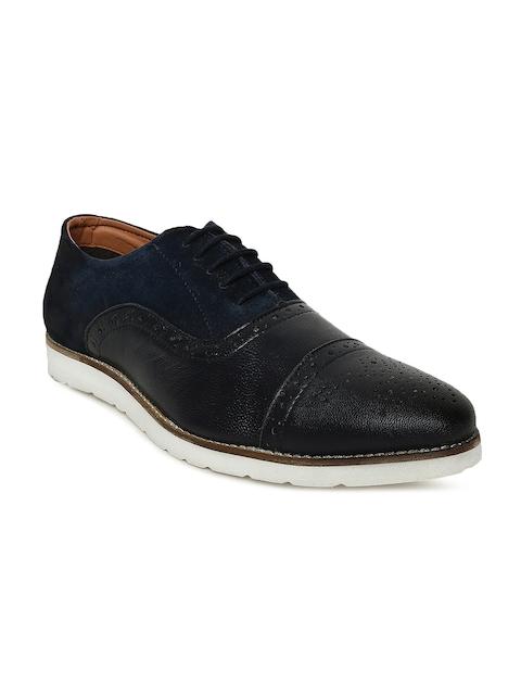 Bata Men Navy Blue & Black RUSHDIE Leather Brogues