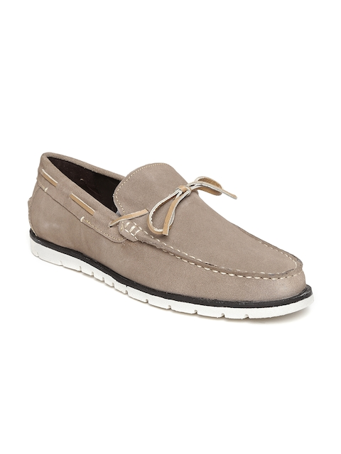 Bata Men Taupe Suede Boat Shoes