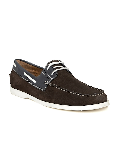 Bata Men Coffee Brown Leather Boat Shoes
