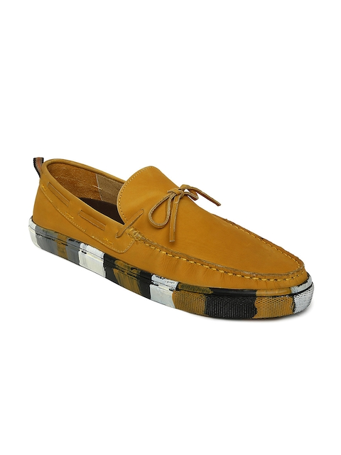 Bata Men Mustard Yellow Leather Boat Shoes