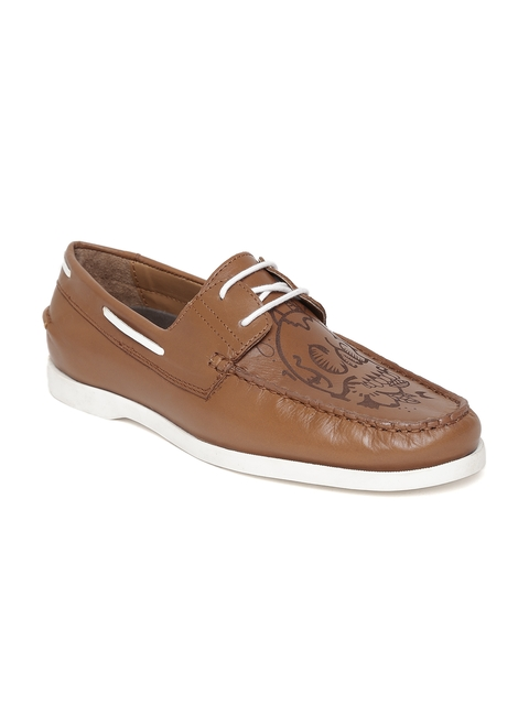 Bata Men Tan Brown Textured Leather Boat Shoes
