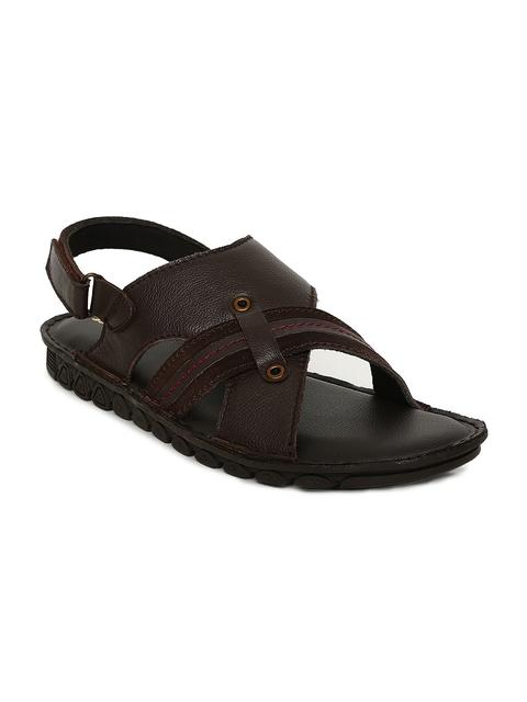 Bata Men Brown Leather Comfort Sandals