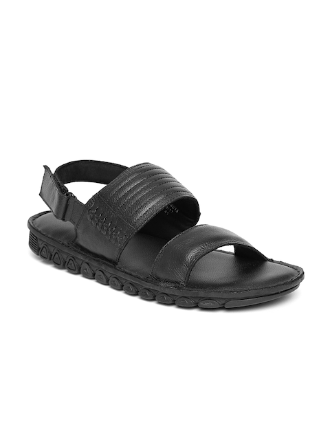 Bata Men Black Leather Sandals
