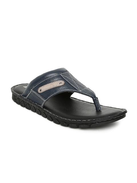 Bata Men Navy Blue Leather Sandals