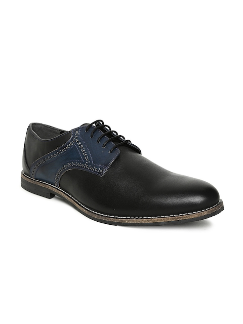 Bata Men Black & Navy Colourblocked Leather Semiformal Derbys