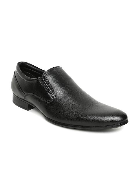Bata Men Black Leather Semiformal Slip-Ons