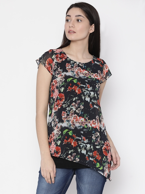 Park Avenue Woman Women Black & Red Printed Top