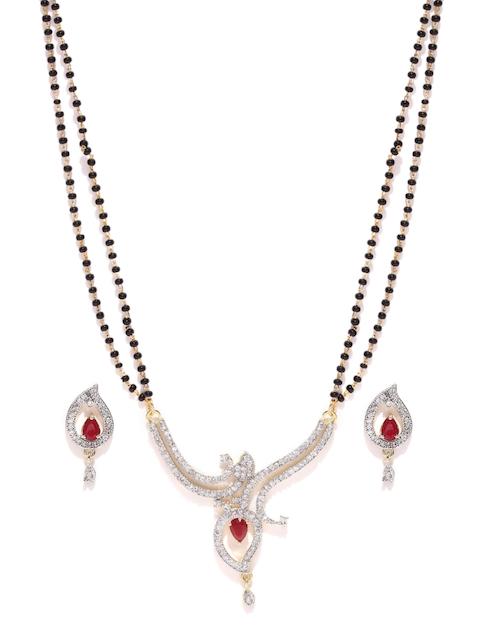 YouBella Black & Gold-Toned Stone-Studded Jewellery Set