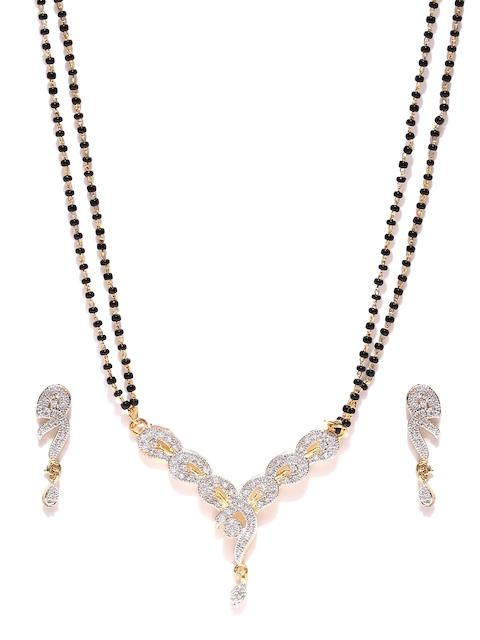 YouBella Black & Gold-Toned Stone-Studded Mangalsutra & Earrings Set