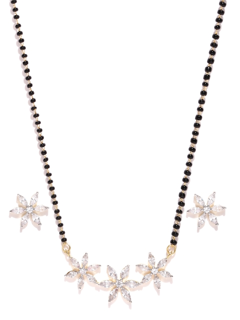 YouBella Black & Silver-Toned Stone-Studded Jewellery Set