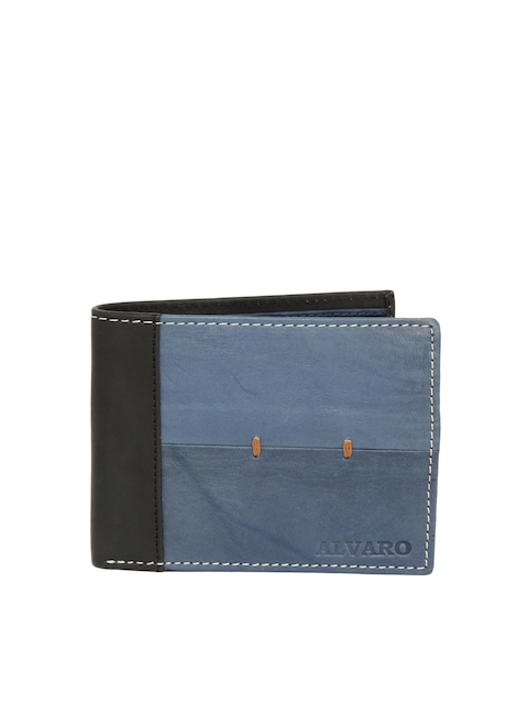 Alvaro Castagnino Men Blue & Black Colourblocked Leather Two Fold Wallet