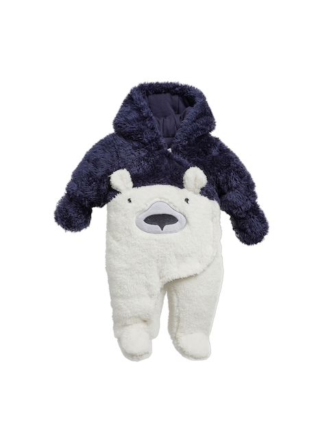 next Boys Navy Blue & White Bear All-In-One Hooded Sleepsuit