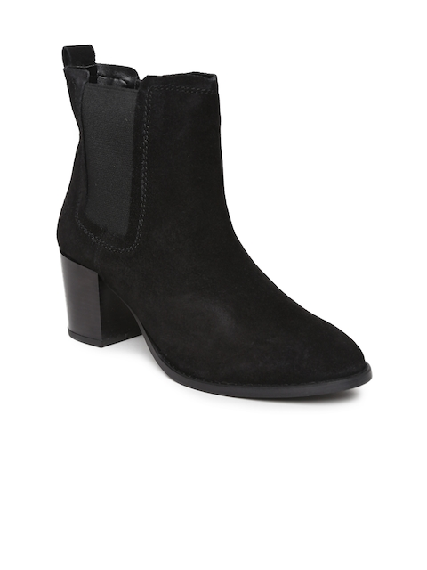 Carlton London Women Black Leather Heeled Boots