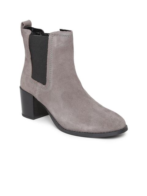 Carlton London Women Grey Leather Heeled Boots