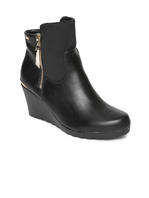 Carlton London Women Black Solid Heeled Boots